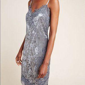 Anthro Tessie Velvet Mini Dress L